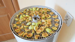 Panning hand opening lid of dehydrator with sliced cut apple slices in kitchen Footage