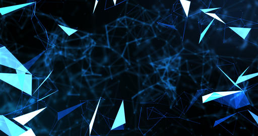 blue abstract 3d rendering technology plexus dynamic digital surface on black background, Footage