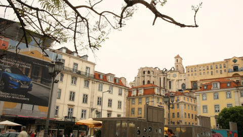 Rossio square in Lisbon, the most important square in the Portuguese capital Footage