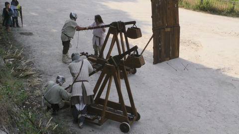 medieval battle catapult Footage