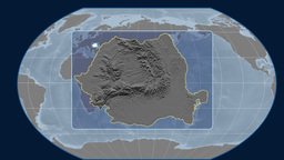 Romania - 3D tube zoom (Kavrayskiy VII projection). Bumps Animation
