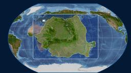 Romania - 3D tube zoom (Kavrayskiy VII projection). Satellite Animation