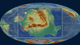 Romania - 3D tube zoom (Mollweide projection). Relief Animation