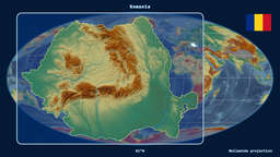 Romania - 3D tube zoom (Mollweide projection) Animation