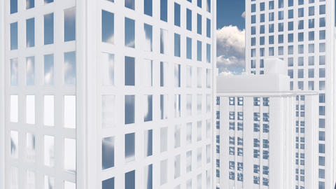 Abstract white high rise building with mirror windows Tilt up Animation