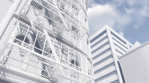 Fire escape ladder on scale model abstract white building Animation