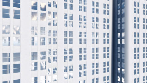 Abstract white high rise office building with mirror windows Stock Video Footage