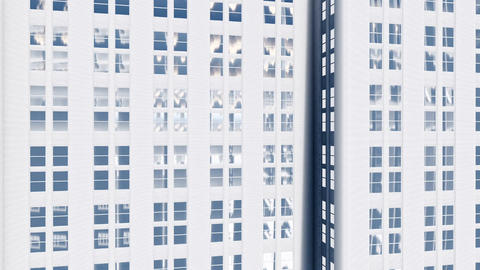 Abstract white high rise office building with mirror windows Animation
