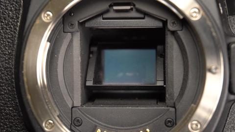 Close up dslr mirror and sensor Footage
