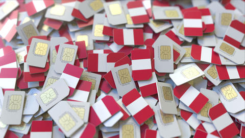 Pile of SIM cards with flag of Peru. Peruvian mobile telecommunications related ビデオ