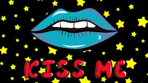 Colorful kiss me stars background Animation