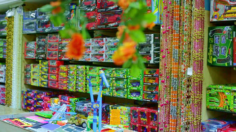Interior of kids store. Toys for kids on shelves in Indian toy shop Footage
