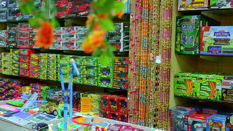 Interior of kids store. Toys for kids on shelves in Indian toy shop Live Action