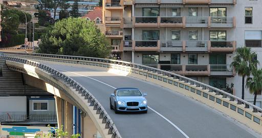 Bentley Continental GTC Convertible On The Bridge In Monaco Footage