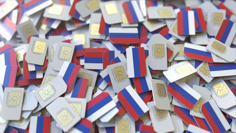 SIM cards with flag of Russia. Russian cellular network related conceptual 3D ビデオ
