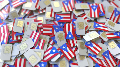 SIM cards with flag of Puerto Rico. Puerto Rican cellular network related ビデオ