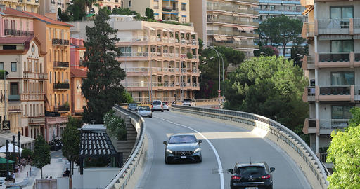 Cars Drive On The Modern Bridge In Monaco Footage