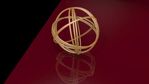 Golden spheric knot composed of golden rings. Object... Stock Video Footage