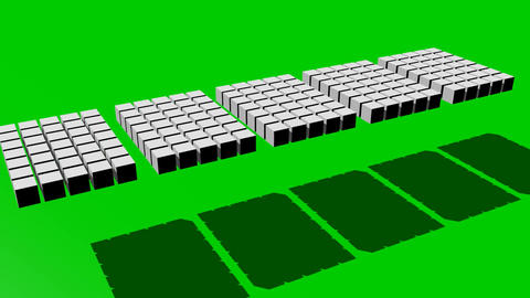 Five white cube segments moving on green screen, zooming, rotating, abstract Animation