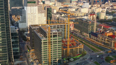 Aerial view of construction cranes and building construction in the center of Footage