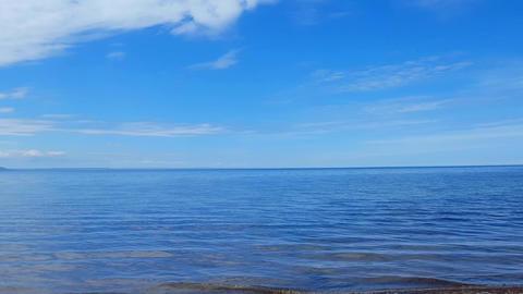 Camera Pan on Beautiful Sand Beach Shore. Daytime Sunny Vacation Shoreline Beach Destination in Footage