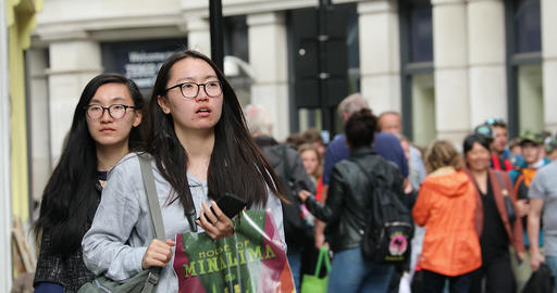 Young Asian Women Travel In London Footage