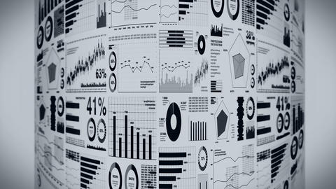 Financial bar charts and growing graphs. Business infographics with depth of field on light white Animation