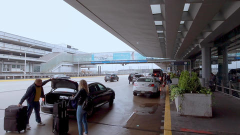 Chicago O Hare Airport Passenger Drop off - CHICAGO, USA - JUNE 20, 2019 Footage