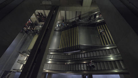 People leaving subway station by escalator going up. Lisbon, Portugal Live Action