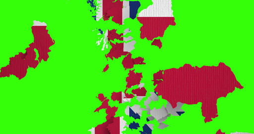 brexit half uk great britain united kingdom flag on great britain map puzzle pieces falling down on Live Action