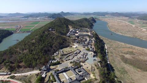 Aerial View of Naju Image Theme Park , Naju, Jeonnam, South Korea, Asia Footage