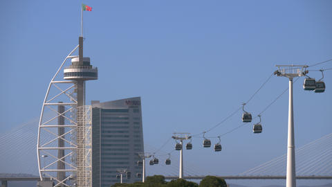 Lisbon scene with Telecabine North Station and Vasco da Gama Bridge, Portugal Footage