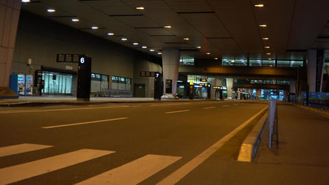 Chiba,Japan-June 24, 2019: Narita International Second Terminal Bus Stops early in the morning Live Action