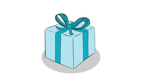 Gift and heart white background Animation