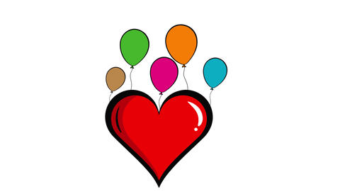 Heart and color balloons white Animation