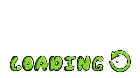 Green loading sign and inscription Animation