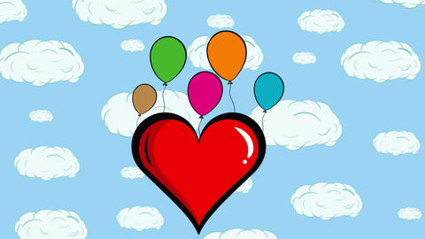Heart and color balloons clouds Animation
