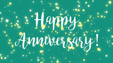 Blue teal Happy Anniversary greeting card video Animation