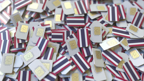 Many SIM cards with flag of Thailand, Thai mobile telecommunications related 3D ビデオ