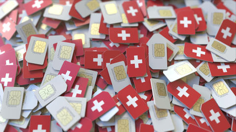 SIM cards with flag of Switzerland. Swiss cellular network related conceptual 3D ビデオ