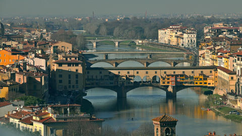 Ponte Vecchio bridge, a major Italian landmark, and the cityscape of Florence Footage