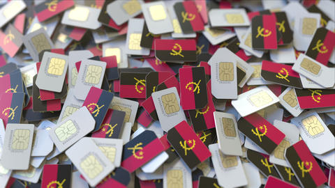 Multiple SIM cards with flag of Angola. Angolan mobile telecommunications ビデオ