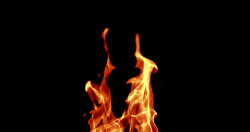 realistic fire flames burn with ash rise movement frame on black background, with Live Action