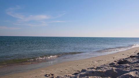 view from the sandy shore to the Black Sea on a sunny summer day Acción en vivo