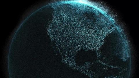Digital data globe 3d animation - North America Live Action