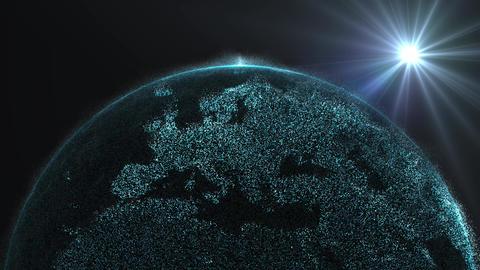 Digital data globe 3d animation - Europe, EU with Sun Live Action