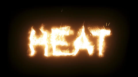 3d animated flaming, burning text - Heat Live Action