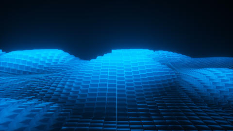 Abstract 3d glowing waves from cubes blue Animation