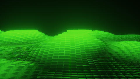 Abstract 3d glowing waves from cubes green Animation