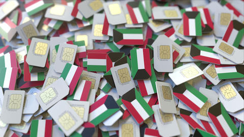 SIM cards with flag of Kuwait. Kuwaiti cellular network related conceptual 3D ビデオ